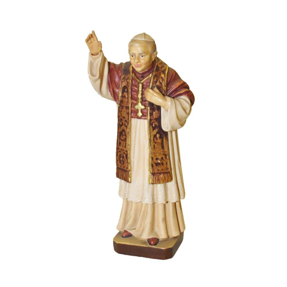 Statua Papa Benedetto XVI cm 12 in legno Valgardena