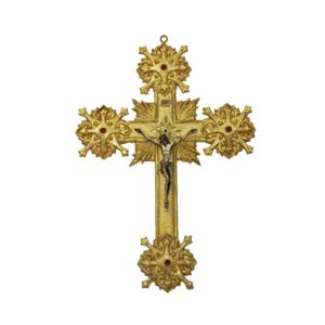Croce in ottone dorata con pietre