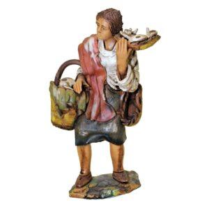 Statua presepe donna con funghi in terracotta cm.19 Pippo Giovane Caltagirone