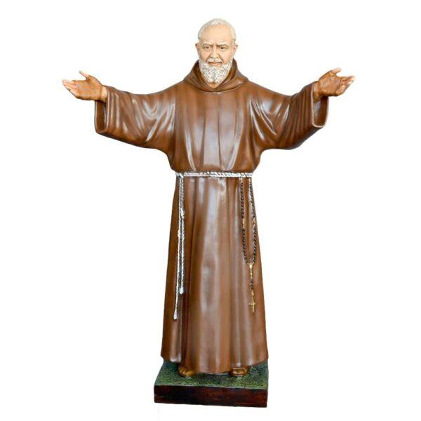 Statua Padre Pio cm 180 vetroresina braccia aperte