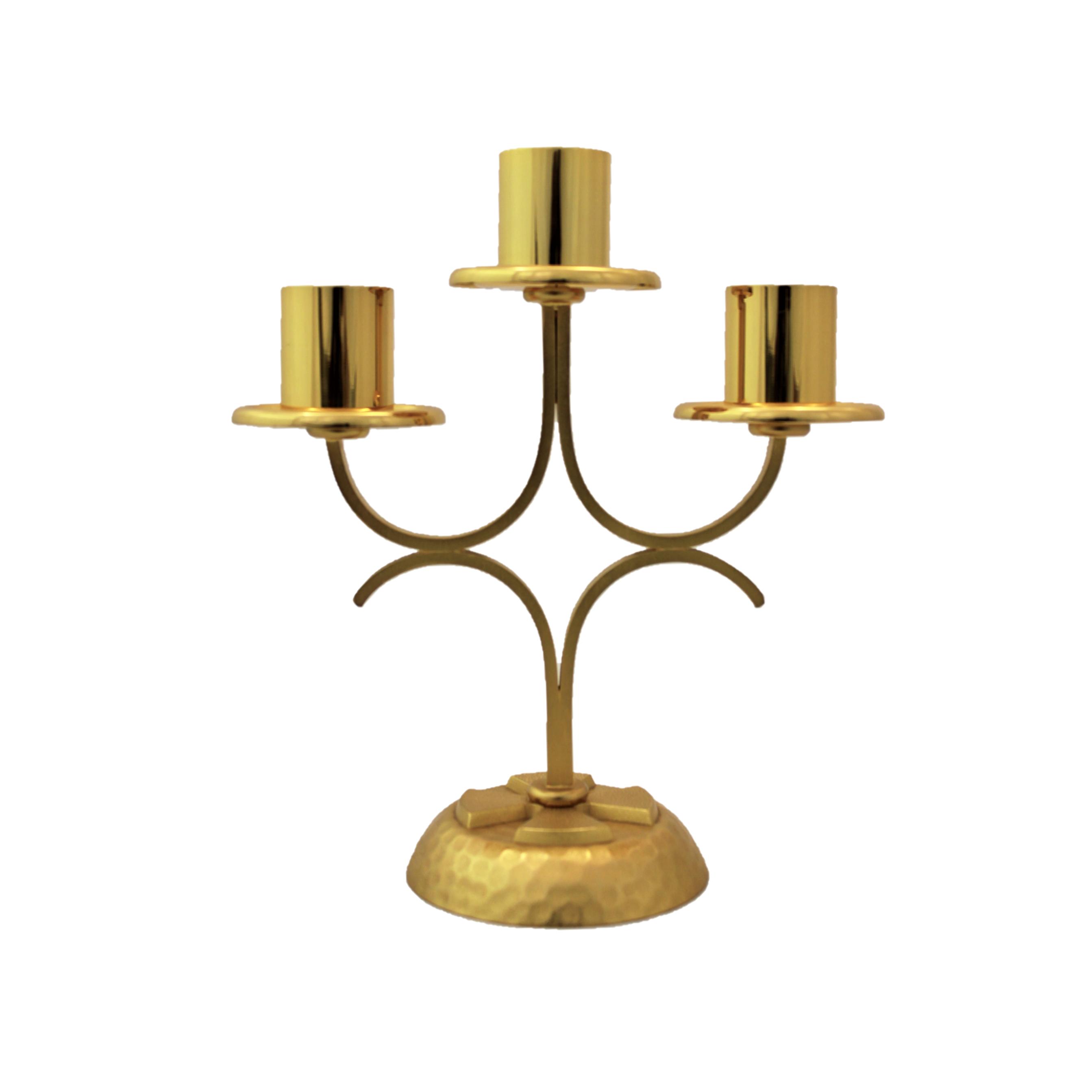 Candeliere a tre braccia dorato