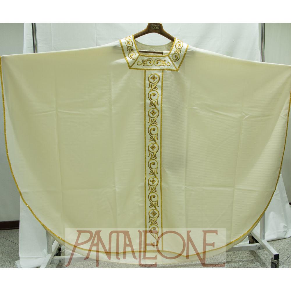 Casula bianca in lana con collo dorato