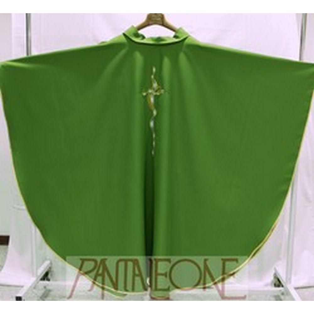 Casula in poliestere con croce lunga verde