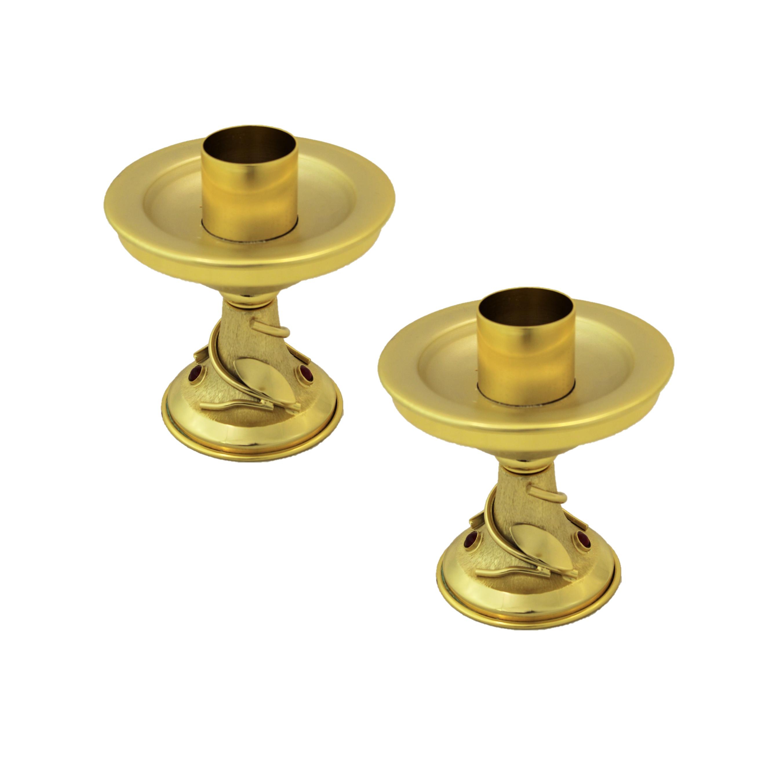 Candelieri da mensa in ottone dorato e pietre