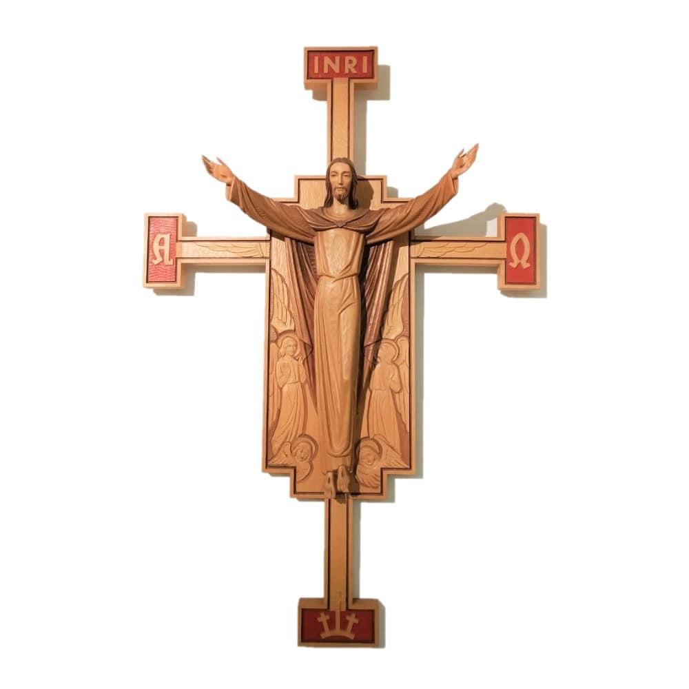 Cristo Risorto su croce in legno Demetz