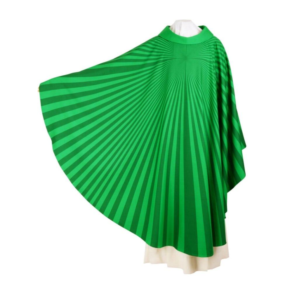 Casula verde con tessuto serigrafato