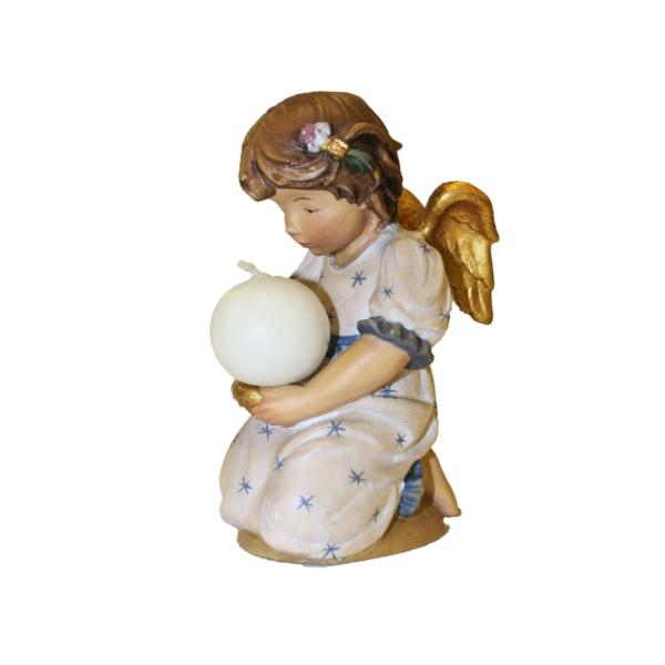 Angelo in legno con candelina bianca in legno scolpito