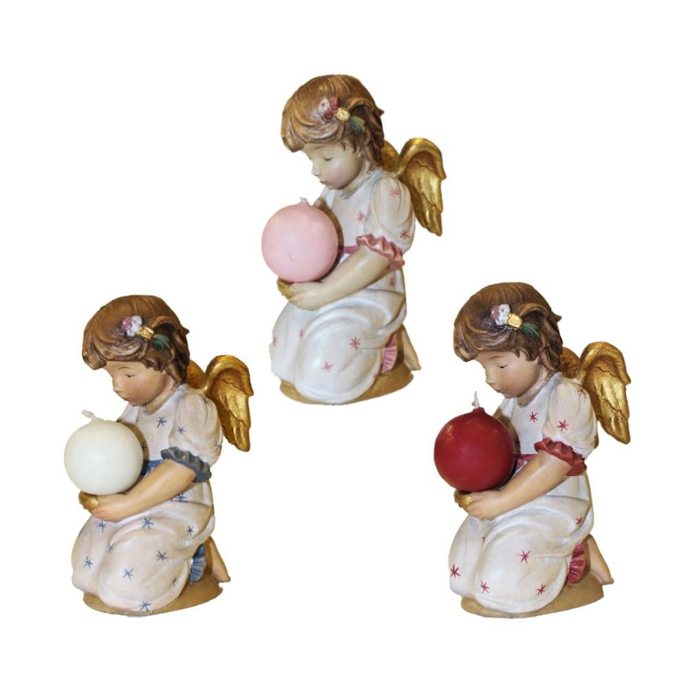 Angeli legno scolpito con candeline colorate