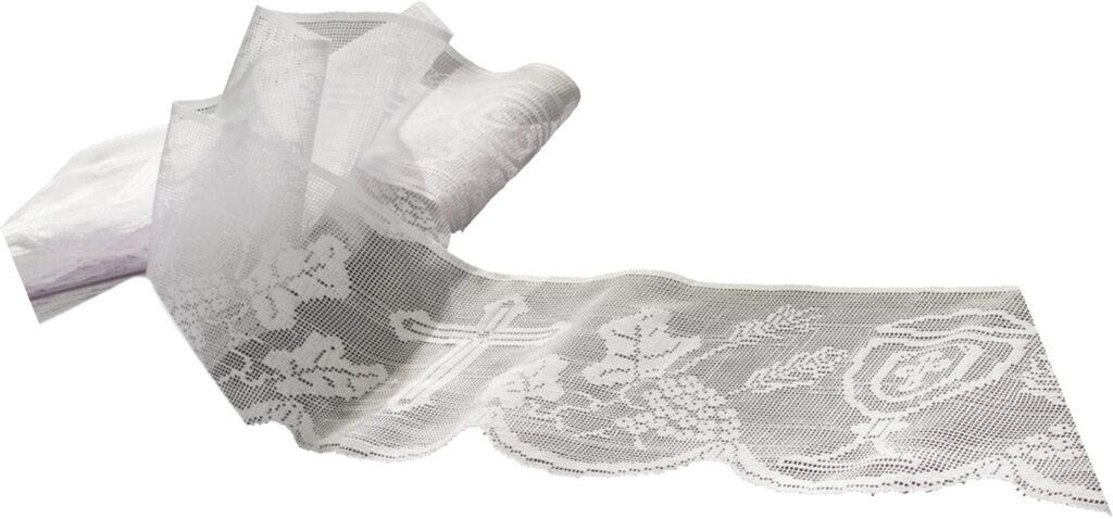 Merletto per tovaglia bianco cm 14 in cotone