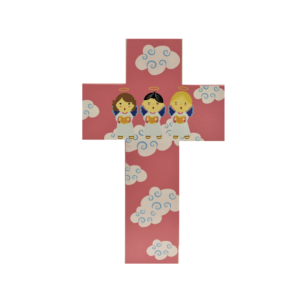 Croce in legno dipinto Angeli cm 12x11