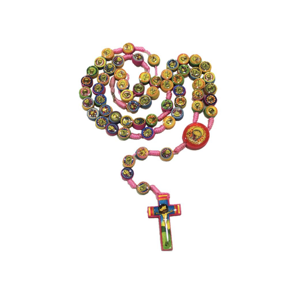 Corona in legno rosa con immagini