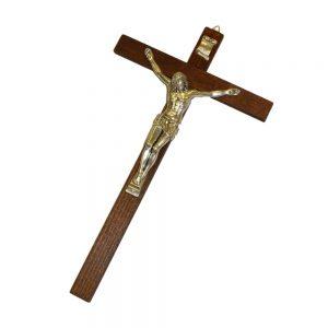 Croce in legno e ottone argentato cm 35